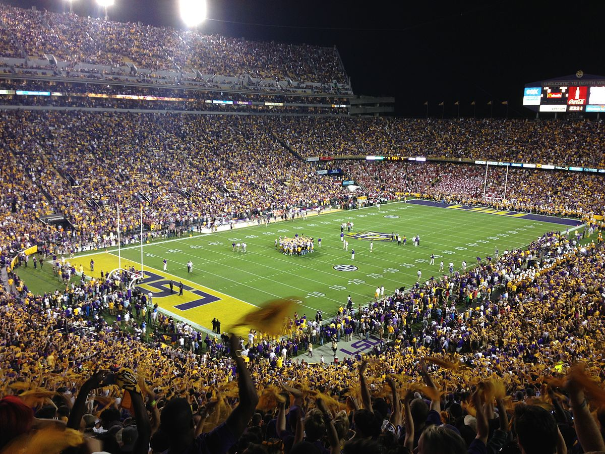 Packing its stadium on most game days/nights, Baton Rouge is one of the best football cities in America ... photo by CC user Getawaypaul27 on wikimedia